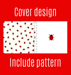 Cover design with ladybug pattern vector