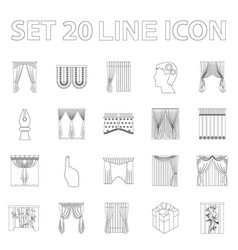 Different kinds of curtains outline icons in set vector
