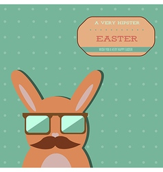 Easter hipster bunny card vector