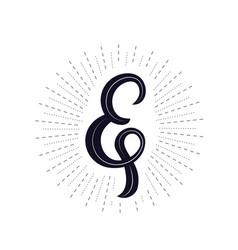 elegant hand written ampersand vector image