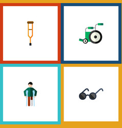 Flat icon disabled set of injured equipment vector