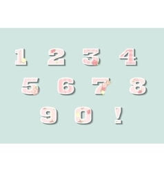 Floral numbers set vintage style numerals vector image