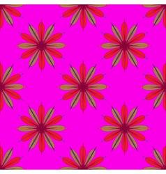Fractal flower seamless pattern on pink background vector