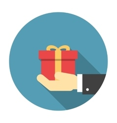 Gift box in hand flat icon vector image vector image