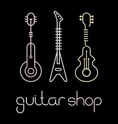 guitar shop color vector image vector image
