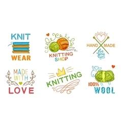 Hand made knit logo set vector