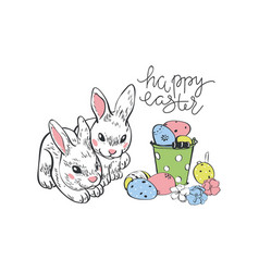 Happy easter rabbit hare bunny and eggs hanging vector