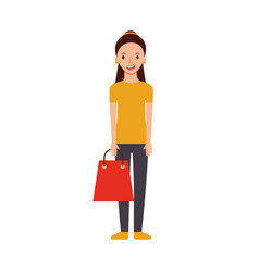 happy young woman with paper bag gift shopping vector image