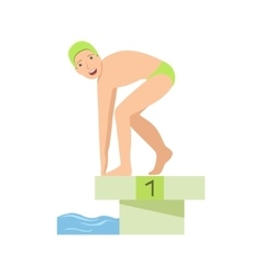 Man getting ready for a swim in pool vector