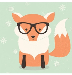 Merry Christmas card with cute hipster orange fox vector image