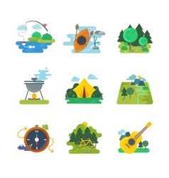 Nature outdoor and forest activites flat vector