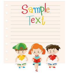 paper design with kids reading books vector image