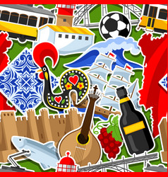 Portugal seamless pattern with stickers vector