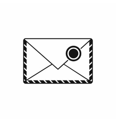 Postage envelope with stamp icon simple style vector