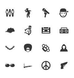 Rap hip hop music icons set vector
