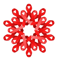 Red awareness ribbons made into flower over white vector image vector image