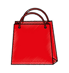 Scribble shopping bag cartoon vector