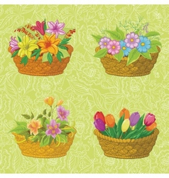 Seamless floral pattern baskets with flowers vector image