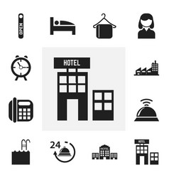 set of 12 editable motel icons includes symbols vector image vector image