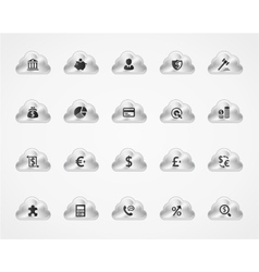 Set of banking icons on metallic clouds vector