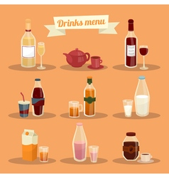 Set of Different Drinks in Ware vector image vector image