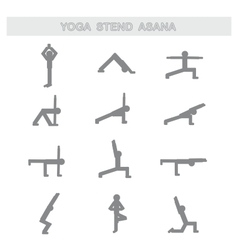 Set of icons poses yoga asanas vector
