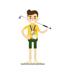 Smiling male golf player with golf club vector