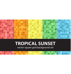 Square pattern set tropical sunset seamless tile vector