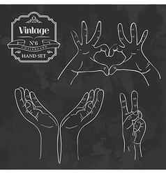 Vintage chalkboard hand sign set vector