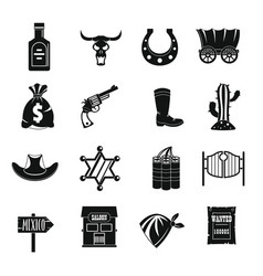 Wild west icons set design logo simple style vector