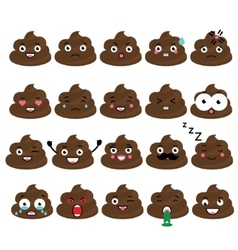 Cute poop emoji set turd emoticons design vector