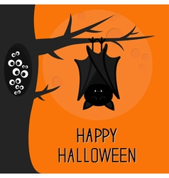 Happy halloween card bat hanging on tree hollow vector