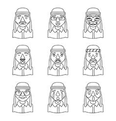 Line Art Avatars Arab Businessman Design Character vector image