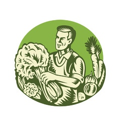 Organic farmer green grocer vegetable retro vector
