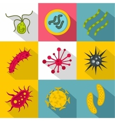 Disease icons set flat style vector