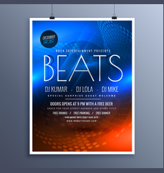 Music party advertising flyer template in blue vector