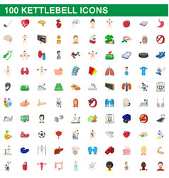 100 kettlebell icons set cartoon style vector image
