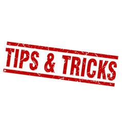 Square grunge red tips tricks stamp vector