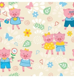 Cute pigs pattern vector image