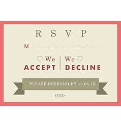 Rsvp wedding card red badge theme vector