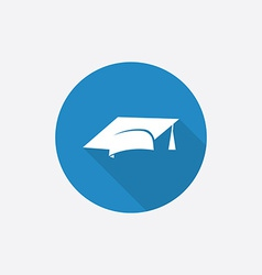Education flat blue simple icon with long shadow vector