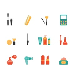 Hairstyling and makeup flat icons vector