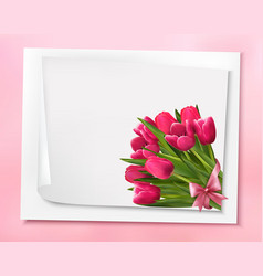 Holiday background with bouquet of pink flowers vector