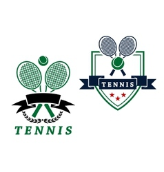 Heraldic tennis emblems or badges vector