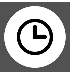 Clock flat black and white colors round button vector