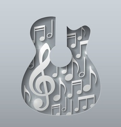Abstract music guitar with notes white background vector