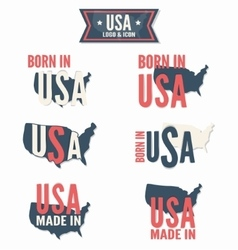 Set of made in the usa and born in the usa vector