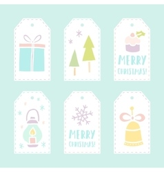 Set of 6 christmas gift tags vector