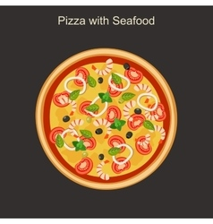 Pizza with seafood vector