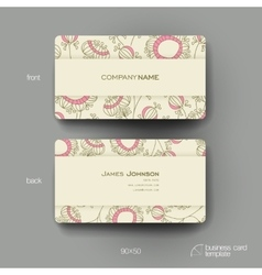 Business card template with floral abstract vector